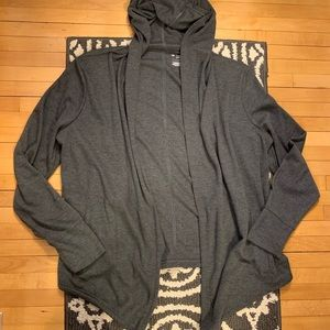 NWOT Charcoal Hooded Wrap Cardigan